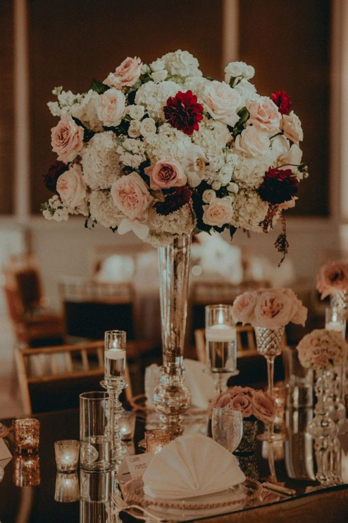 Tall centerpieces, mirrors, candles and the it color of the year 2019