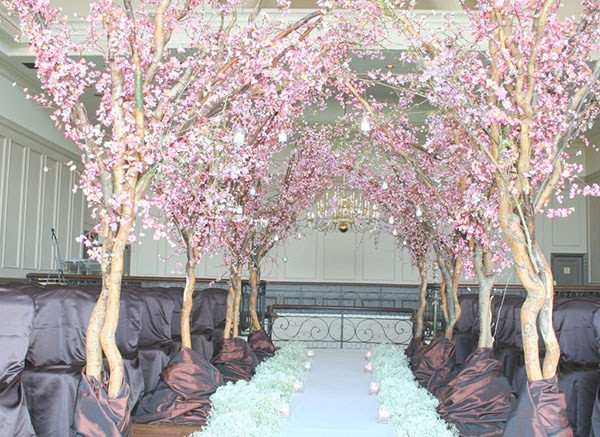 Ceremony focal point, pink flowering trees