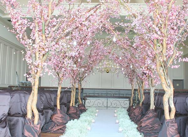 Wedding ceremony decor, pink & white