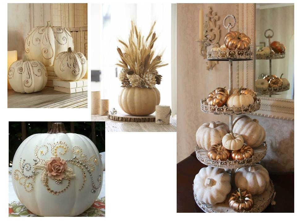 metallic pumpkins, rhinestone pumpkins