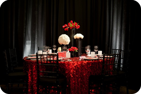 red sequin linens
