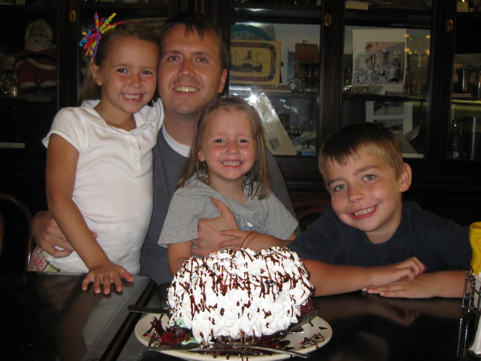 Celebrating with a birthday sundae
