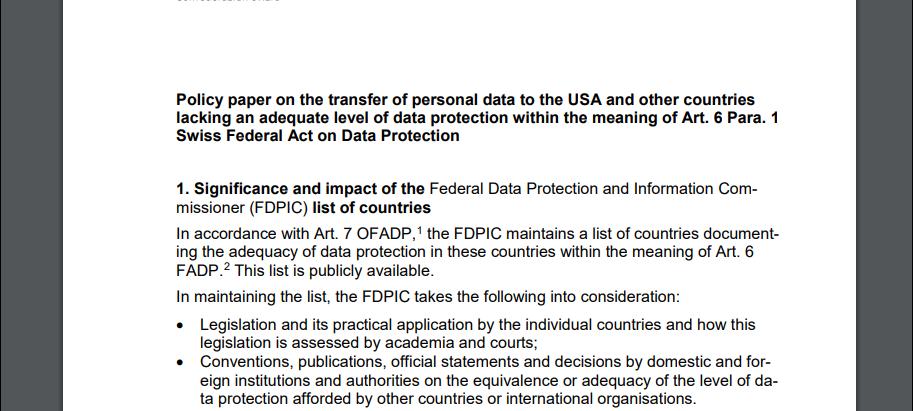 Swiss - U.S. Privacy Shield in Doubt