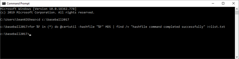certutil command to generate hash values for multiple files