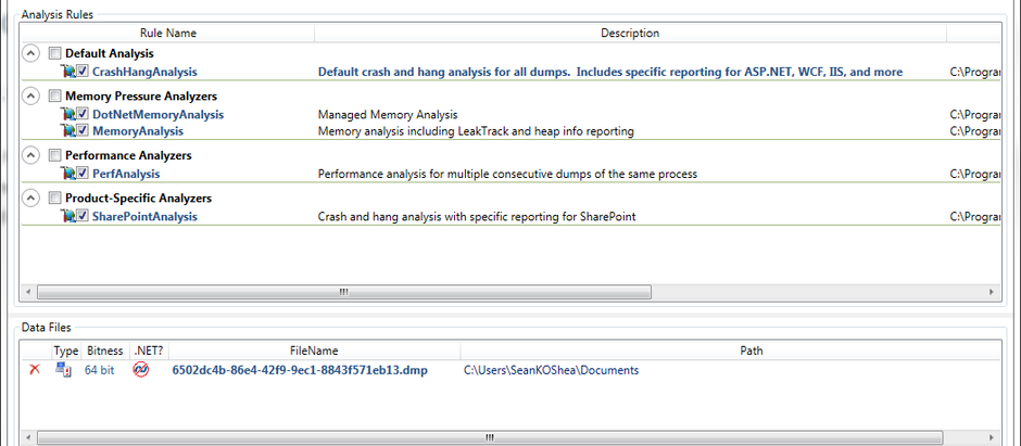 Tool to analyze dump files