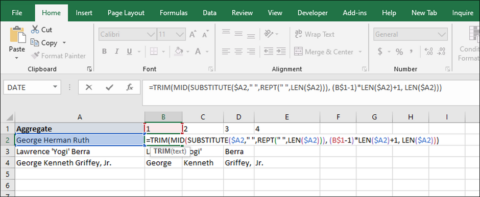 Excel formula to parse out Nth words in cell