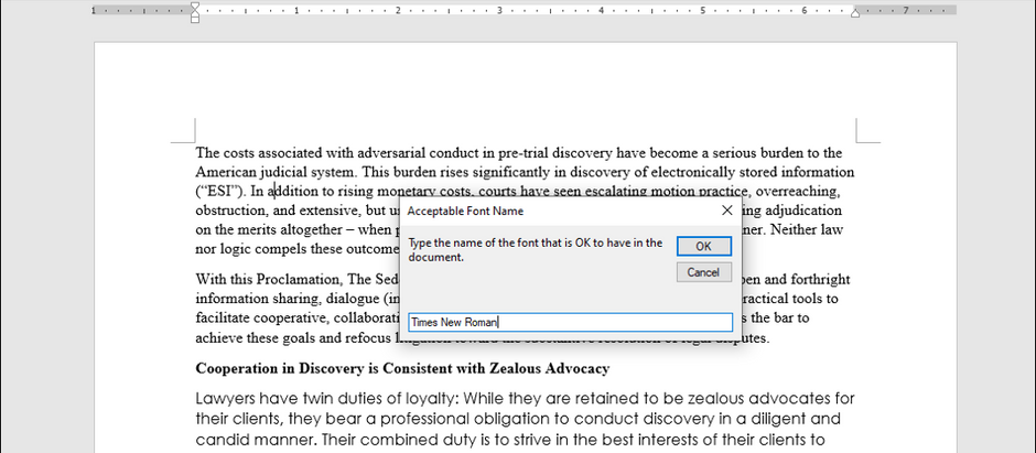 MS Word visual basic code to highlight text not in selected font
