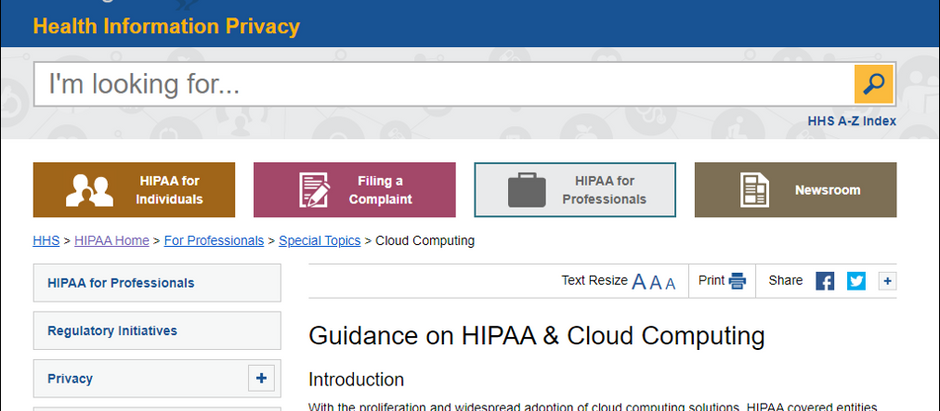 HHS on the Cloud and HIPAA