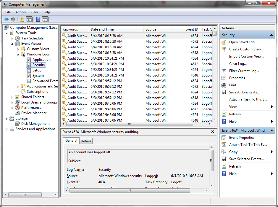 event viewer for windows 7