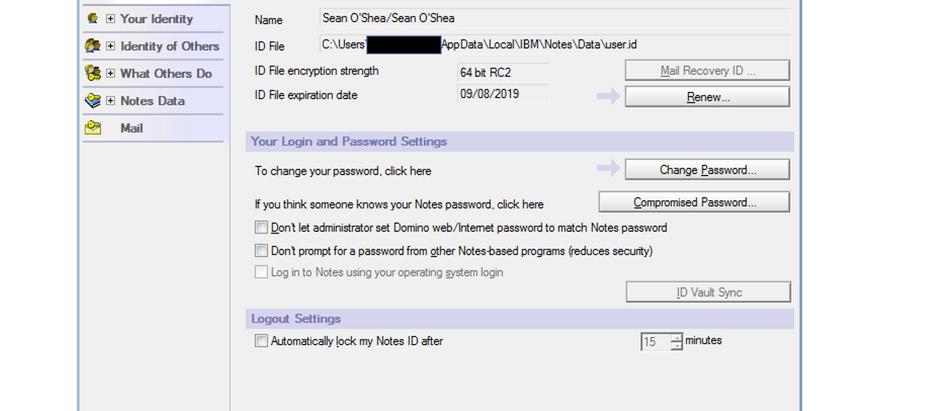 User.id file for Lotus/IBM Notes
