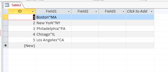 Parsing Data in an Access Column Into Multiple New Columns