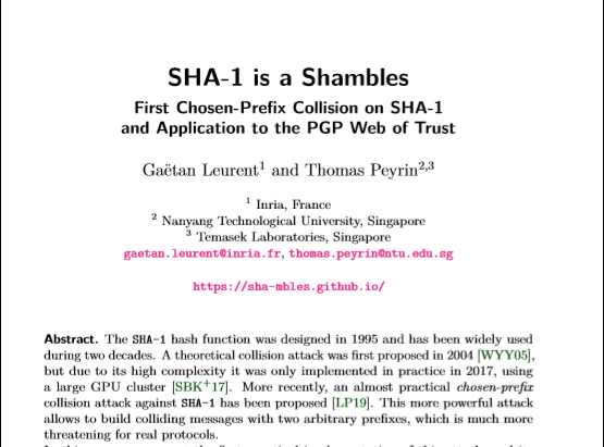 The SHA-1 hash function is more vulnerable than ever before