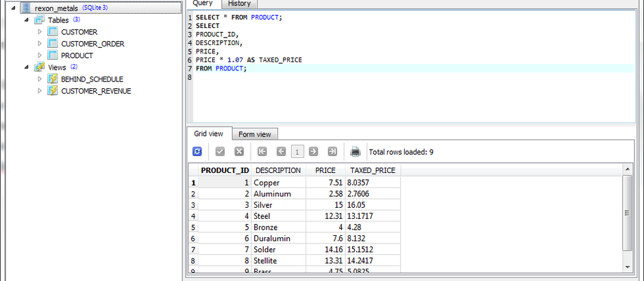 Calculations in SQLiteStudio