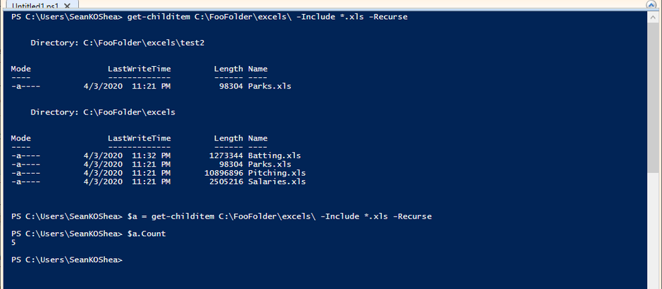 Get file type counts with PowerShell