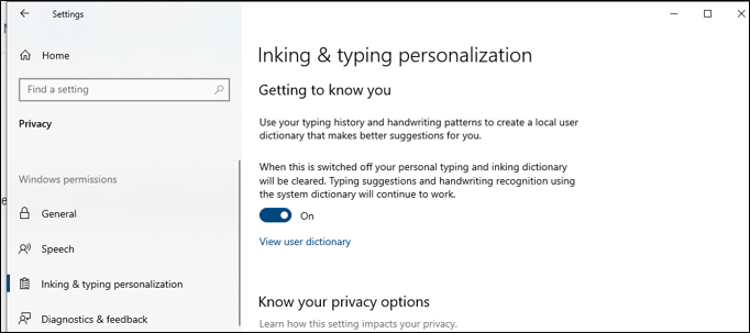 Inking and Typing Personalization in Windows 10