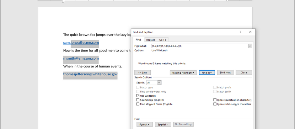Select all email addresses in Word