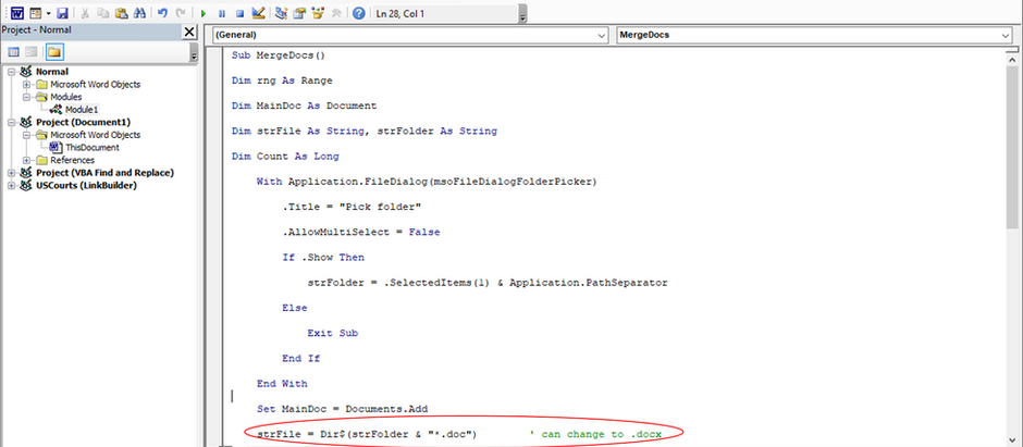 Macro to merge Word files