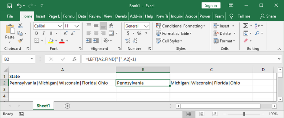 Excel formula to pull data up to the first delimiter