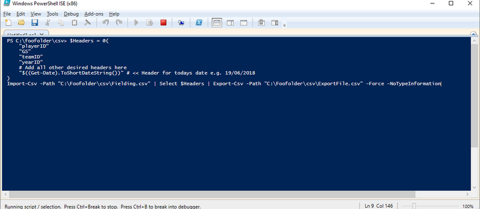 powershell script to extract specific columns from a .csv file