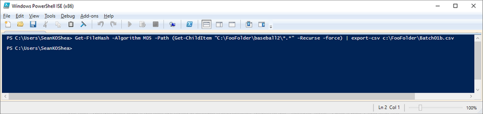 PowerShell Script to Get Hash Values of Multiple Files in Multiple Folders