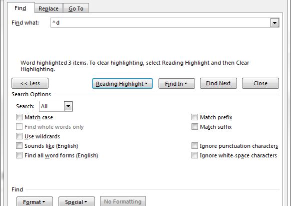 Find all hyperlinks in Word