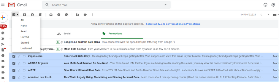 Unwanted emails purged easily in Gmail