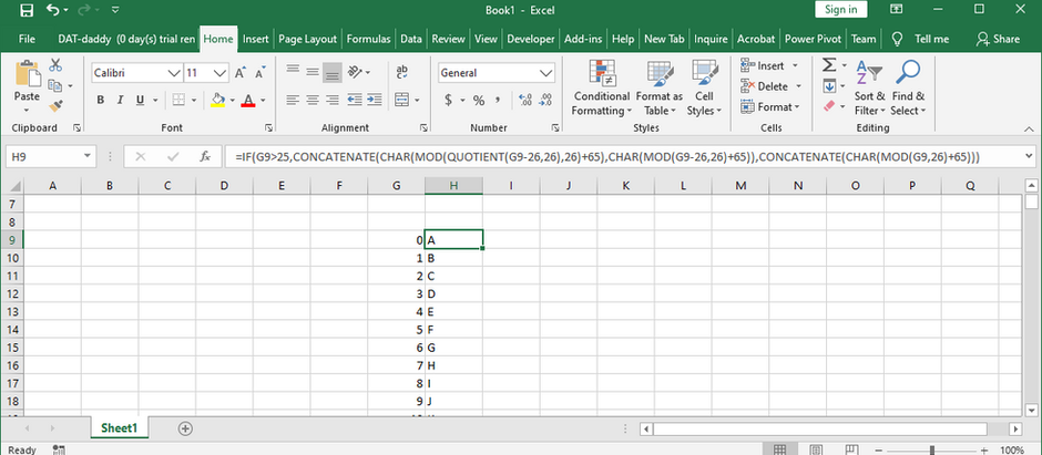 Excel formula to go from A to ZZ