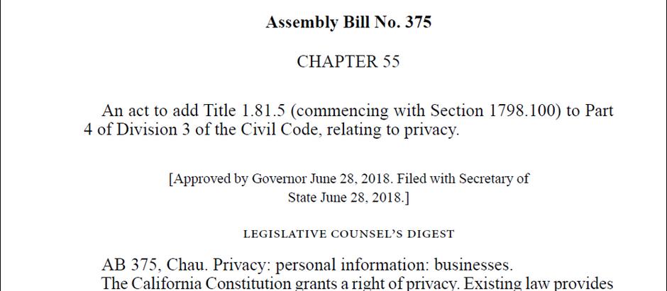 California Consumer Privacy Act of 2018
