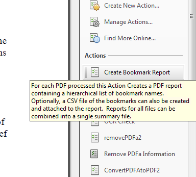 Action to Generate Bookmark Report for Multiple PDFs