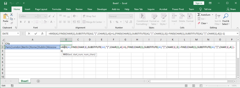 Excel formula to pull data between two delimiters in cell with multiple delimiters