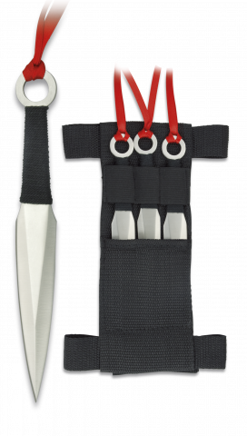 Set of 3 Red Flight Throwing Knives