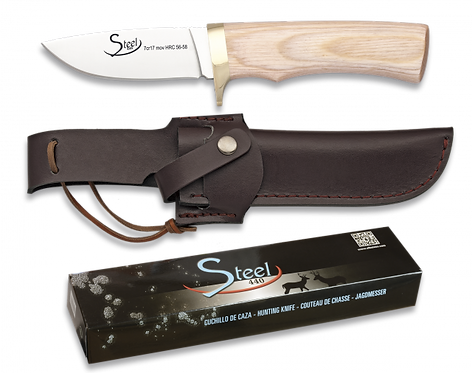 440 Steel Light Wood Knife with Leather pouch