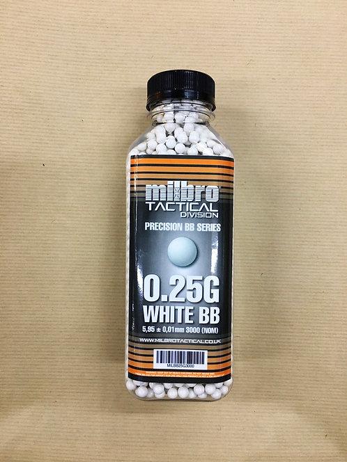 3,000 Milbro 0.25g White Bb