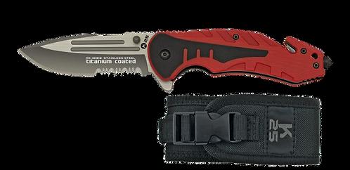 Tactical pocket knife K25 red 8.7cm