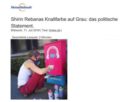 """MEINESUEDSTADT.DE: """"Shirin Rebanas Knallfarbe auf Grau: das politische Statement"""" (Artikel)"""