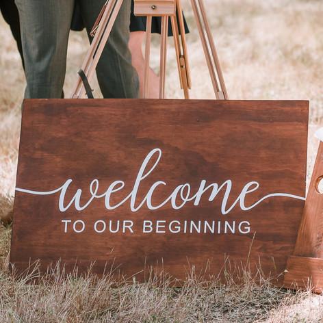 Welcome sign - beginning $120