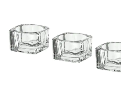 Clear square votive $1