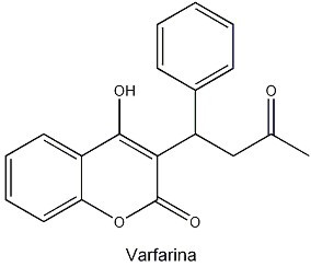 A varfarina é um anticoagulante inibidor da vitamina K usado em pessoas com trombose