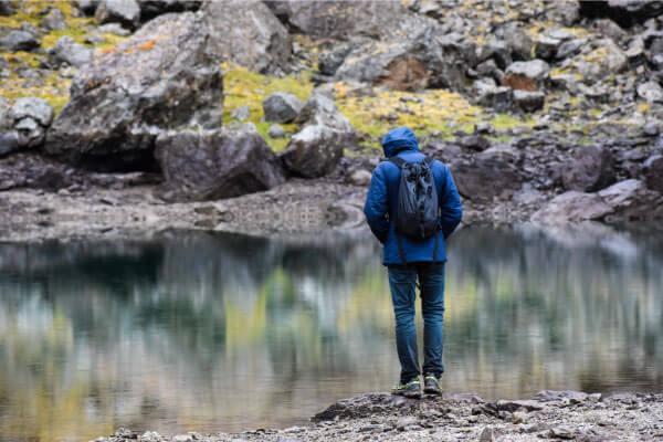 Reflecting at an alpine lake