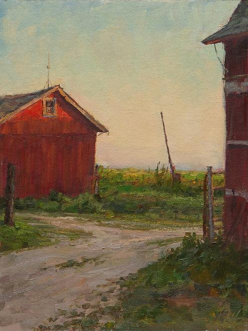 """Late Light on the Granary"" Hannah C. Heyer Oil Painting"