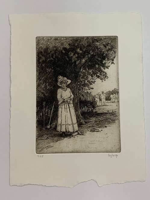 Lady of the Mallet Etching by Stuart Loughridge
