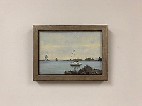 "Bob Upton ""Sailboat at Grand Marais Harbor"" Gouache Painting"