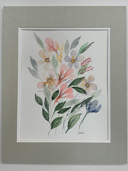 Colorful Floral Watercolor by Laurie Plattes