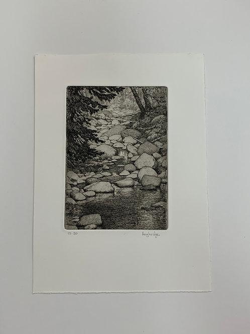 A Rocky Creek etching by Stuart Loughridge