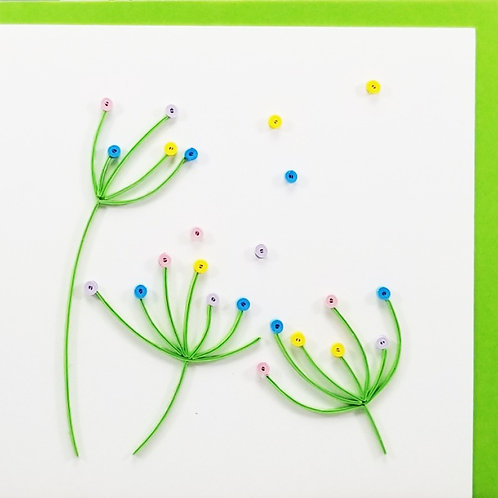 Iconic Quilling Dandelions Greeting Card
