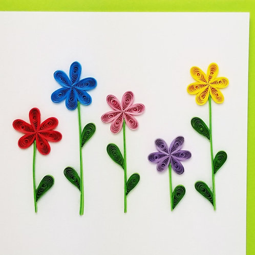 Iconic Quilling Flower Garden Greeting Card