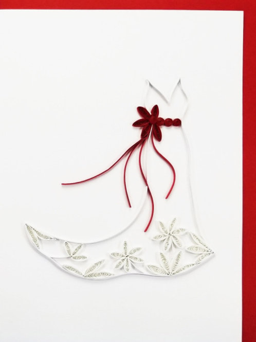 Iconic Quilling Bridal Dress Greeting Card