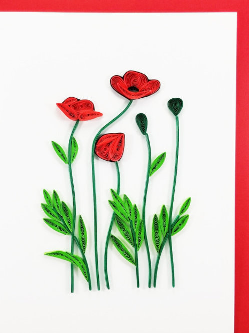 Iconic Quilling Poppy Flower Greeting Card