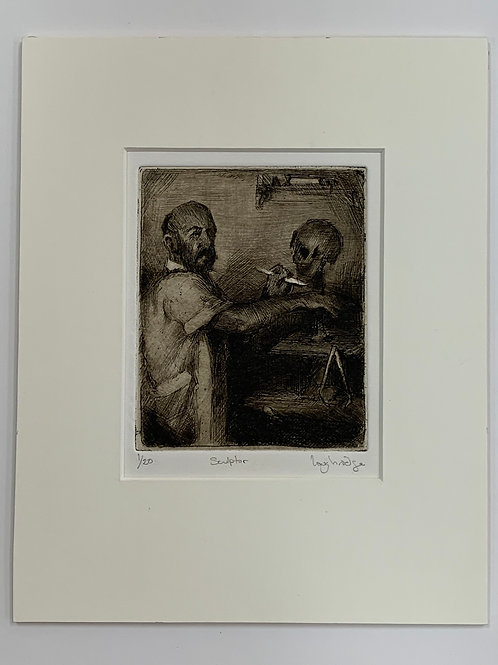 Matted Sculptor Etching by Stuart Loughridge