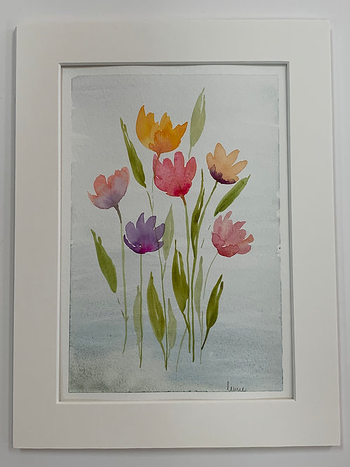 Tulips watercolor by Laurie Plattes